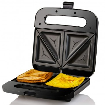 Ovente Electric Sandwich Maker, Non-Stick Plates, Anti-Skid Feet, Indicator Lights, Stainless Steel, 750W, Black (GPS401B)