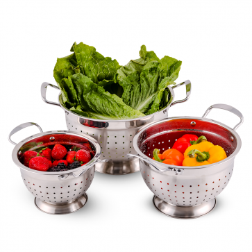 Ovente Stainless Steel Colander 3 Pieces Kitchen Set with 1.5, 3, and 5 Quarts, Multi Purpose Use for Flour Sifter, Pasta Straining, Draining Vegetables and Fruits, Silver (C46263S)