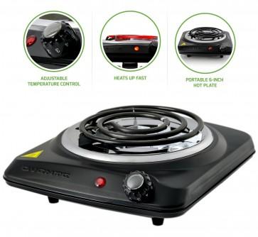 Ovente Countertop Electric Single Burner with Adjustable Temperature Control, Black (BGC101B)