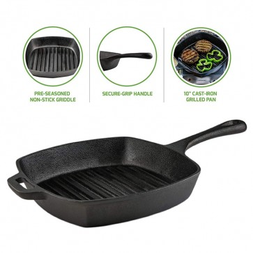 Pre-Seasoned Square Cast-Iron Grill Pan