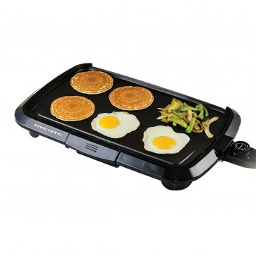 Ovente Electric Griddle 1200W, Large Non-Stick Plate, Temperature Control Probe and Control Knob, Black (GD1610B)