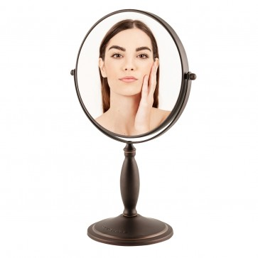 Ovente Tabletop Makeup Mirror, 8 Inch, Dual-Sided 1x/7x Magnification, Antique Bronze (MNLAT80ABZ1X7X)