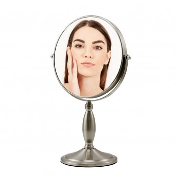 Ovente Tabletop Makeup Mirror, 8 Inch, Dual-Sided 1x/7x Magnification, Nickel Brushed (MNLAT80BR1X7X)