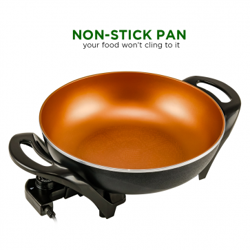 "Ovente Electric Non-Stick Multifunctional, Copper Pan 13"", Instant Pot, Frying Pan, Cast Iron Skillet (SK3113CO)"