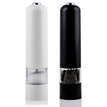 Ovente Electric Salt and Pepper Grinder Set, Battery Operated 4 AA, Black and White (SPD102BW)