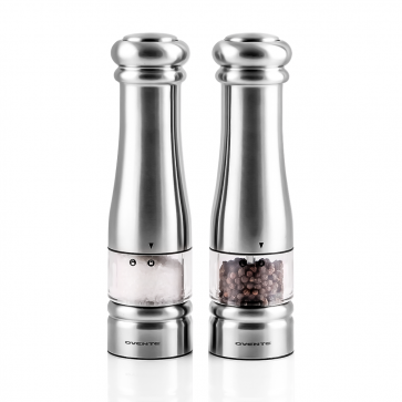 Ovente Electric Salt and Pepper Set with Premium Stainless Steel and Ceramic Blades, Easy to Refill and Store, One-Touch Fast Grinding Button for Seasoning Meat and Dishes, Set of 2, Silver (SPD132S)