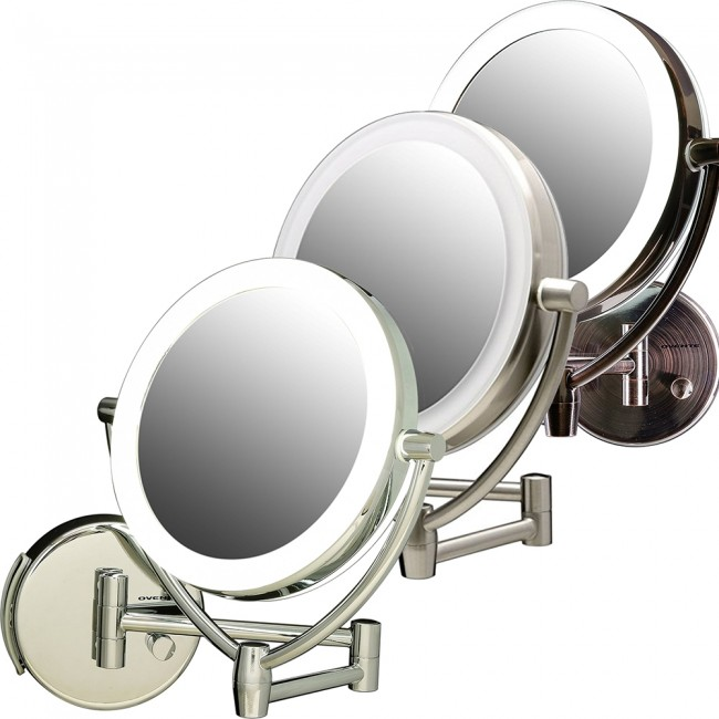 wall mounted makeup mirror. ovente wall-mounted vanity mirror with dimmable lights 7.5 inches (mlw75 series) wall mounted makeup