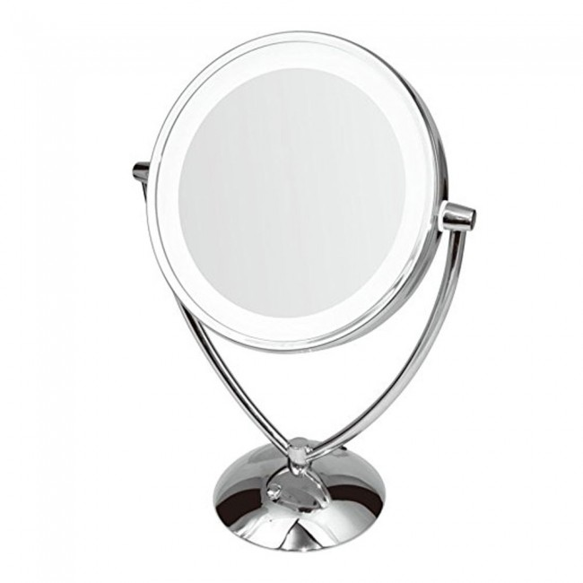 Ovente Dimmable LED Lighted Tabletop Vanity Makeup Mirror, 9.5 Inch, 1x/10x  Magnification
