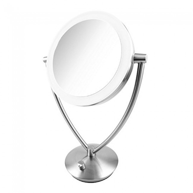 Ovente 7.5u201d Lighted Tabletop Makeup Mirror, Battery Or USB Adapter  Operated, 1x10x Magnification, Dimmable Cool Tone LED ...