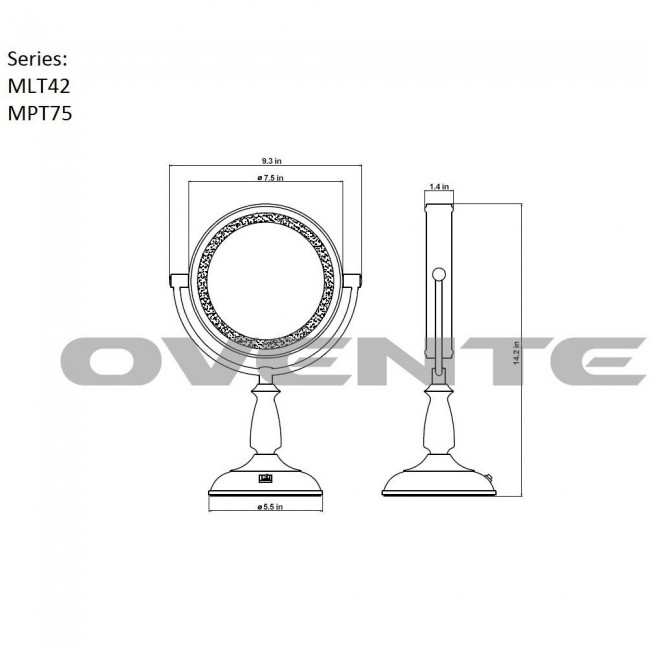 tabletop vanity mirror smart touch 7 5 inches mpt75