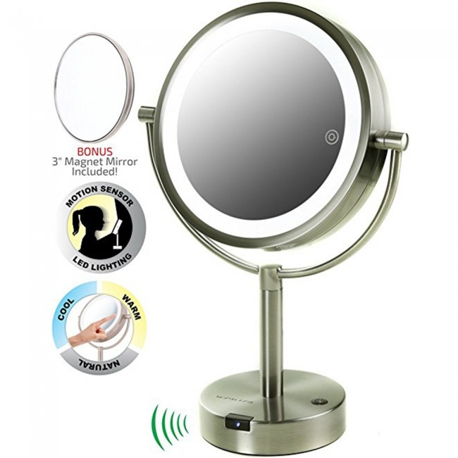 Ovente Tabletop Vanity Mirror Smart Touch 3-Tone and Motion Sensor 8 5  Inches (MPTS8385BR1x5x)