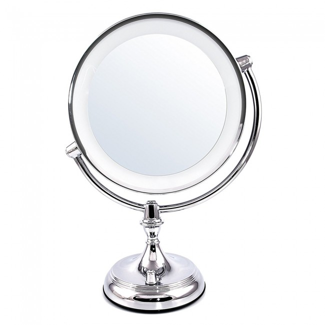 Tabletop vanity mirror light switch mgt95 95 inches ovente us ovente led lighted makeup mirror dimmable battery or usb adapter operated 95 inch mozeypictures Gallery