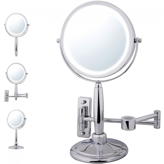 Ovente Three In One Vanity Makeup Mirror With 3 Tone Led