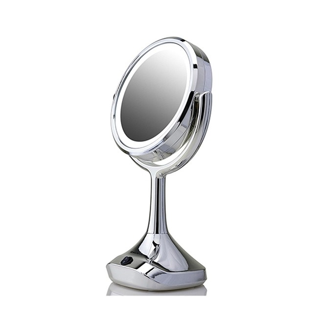 Ovente Dual Sided LED Tabletop Makeup Mirror, Chrome (MMT06CH1x5x)