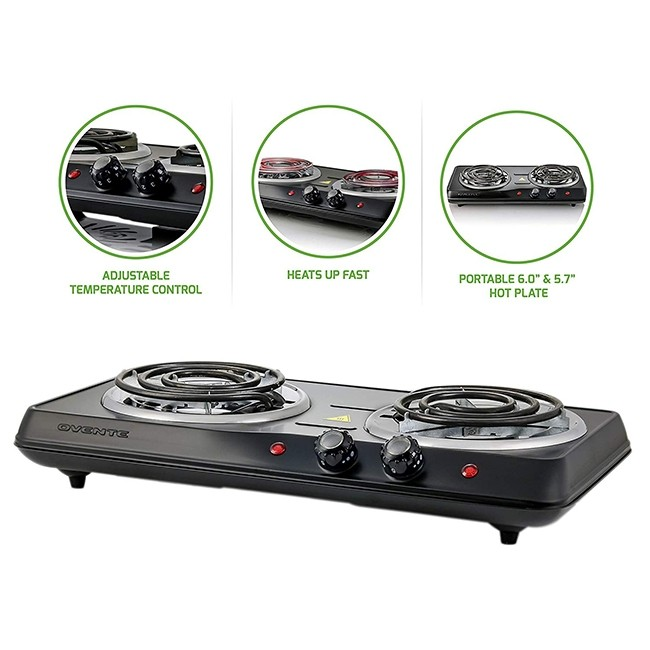 Ovente Countertop Electric Double Burner With Adjustable