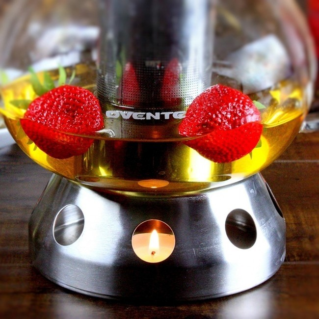 Ovente Food Warmer ~ Glass teapot stainless steel mesh filter warmer fgd t