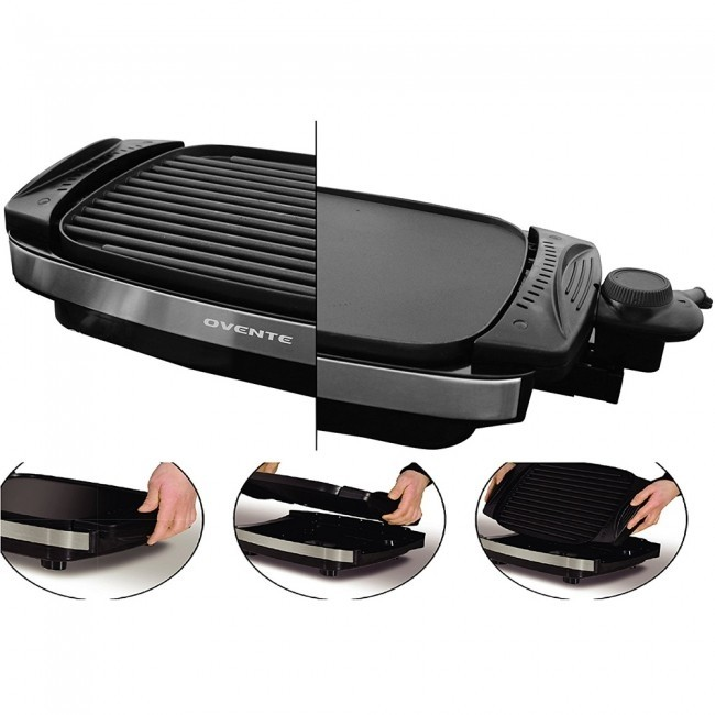 Ovente Reversible Electric Grill and Heat Tempered Glass Cover with Bonus  Non Stick Skillet (GR3002B)
