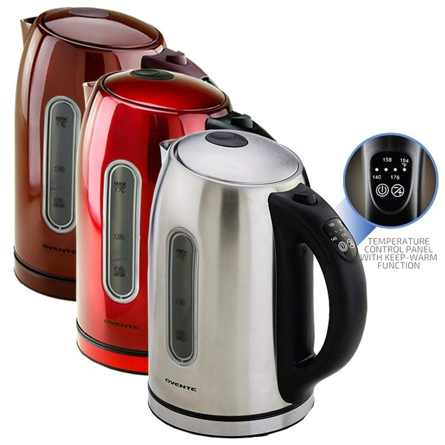 Electric Kettle Stainless Steel 1 7l Bpa Free Ks89 Ovente Us