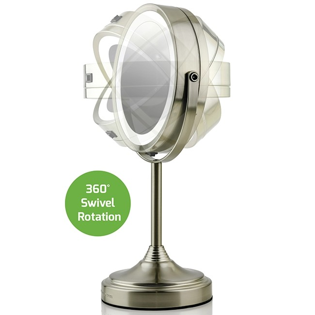 Ovente Led Lighted Tabletop Makeup Mirror 7 Inch Dual Sided 1x 7x