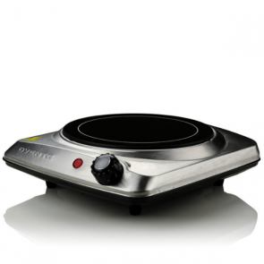 "Ovente Electric Infrared Burner, 7"" Single-Plate, 1000W, Ceramic Glass & Stainless Steel, Silver (BGI101S)"