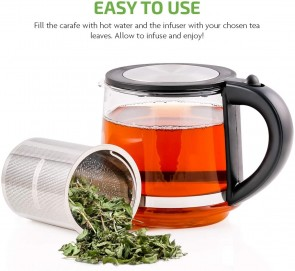Ovente Glass Tea Kettle 27oz, With Tea Infuser for Loose-Leaf Tea, Compatible With KG612S (FGK27B)