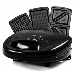 Ovente Sandwich Maker with Non-Stick Waffle Grill Plates (GPI202B)