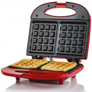 Ovente Electric Waffle Maker, 750W, Non-Stick Plates, Safety Cover Latch, Indicator Lights, Cool-Touch Handle, Red (WMS602R)