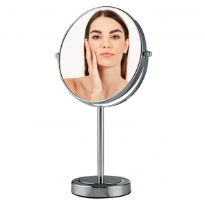 Ovente 8-Inch Tabletop Magnified Vanity Makeup Mirror, Dual-Sided 1X/7X, 15-Inch Height, Chrome (MNLMT80CH1X7X)