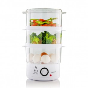 Ovente Electric Food Steamer White 3 Tiers for Vegetable and Food with Time Control (FS53W)