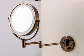 Ovente Wall Mounted Vanity Makeup Mirror 8.5 Inch with 7X Magnification and Natural LED Lights, Double-Sided with Hardwired Electrical Connection, Distortion Free, Antique Bronze (MPWD3185AB1X7X)