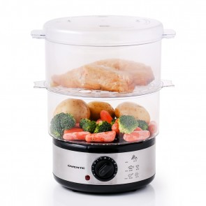 Ovente Electric Food Steamer Two Tiers Stainless Steel Base with 2 BPA-Free Containers and Time Control, 5 Quart Capacity, Healthy and Convenient Choice for Children and Seniors, Silver (FS62S)