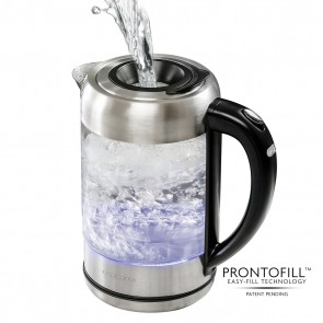 Ovente Glass Electric Kettle With ProntoFill Technology - Fill Up With Lid On (KG612S)