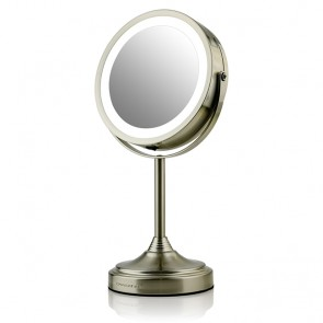Lighted Tabletop Makeup Mirror, Nickel Brushed