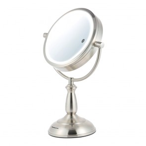 Ovente MPT75BR1x5x  SmartTouch  7.5 inch Three Tone LED Makeup Mirror, Tabletop Vanity Mirror, 1x/5x Magnification, Nickel Brushed