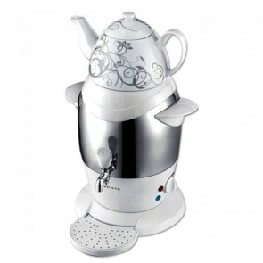 Ovente Stainless Steel Samovar Tea Maker with Ceramic Teapot
