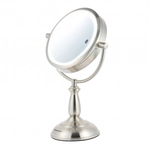 Ovente MPT75BR1x7x  SmartTouch  7.5 inch Three Tone LED Makeup Mirror, Tabletop Vanity Mirror, 1x/7x Magnification, Nickel Brushed