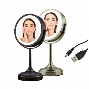 Ovente LED Lighted Tabletop Makeup Mirror, 7 Inch, Dual-Sided 1x/7x Magnification, Rechargeable & Wireless (MCTR70)